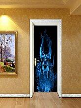3D Türaufkleber Wandbilder Tapete Flammenschädel