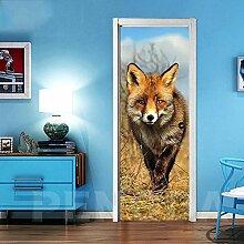 3D Türaufkleber Wandbilder Tapete Tierhund Vinyl
