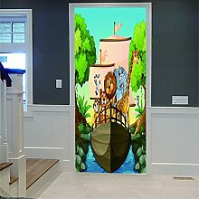 3D Türaufkleber Zoo Diy Home Decor Tapete Für