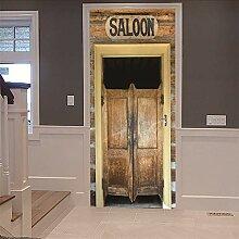 3D Türtapete Saloon Türaufkleber Selbstklebend