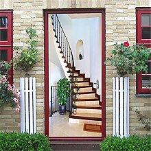3D Türtapete Treppen Tür Aufkleber