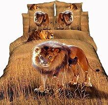 3D Twill Gedruckte Baumwolle Vier Stück Satz Von Heimtextilien Bettwäsche , King Of The Jungle , 200*230,king of the jungle,200*230