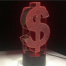 3D USD Dollar Zeichen Home Decor Lampe Flash Party