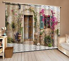 3D Verdunkelungs Fenster Vorhänge, Lila Blüten und grüne Pflanzen vor der Tür und Fenster ,2er-Set Verdunkelungsgardine Für Wohnzimmer Schlafzimmer Küche,(1.015mx1.6mx2pcs)