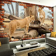 3d Vintage Fototapete Tierlöwe Leinwand Wandbild