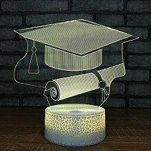 3D Visuelle Lampe Bachelor Hut Nachtlichter Sieben