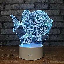 3D Visuelle Lampe Fisch 7 Bunte Verfärbte