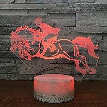 3D Visuelle Lampe Reiten 7 Bunte Verfärbte Nacht