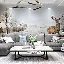 3D Vliesstoff Wallpaper Nordic Elch Wohnzimmer Tv
