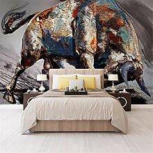 3D Vliesstoff Wallpaper Nordic Handgemalte Bison
