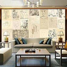 3D Vliestapete Picasso-Skizze Abstrakte Wand-Café