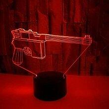 3D Waffe Lampe USB Power 7 Farben Amazing Optical
