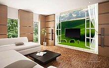 3D Wallpaper - Fenster Grüne Landschaft 3D -