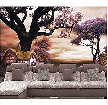 3D Wallpaper Fresco Silk Cloth Collage Baum