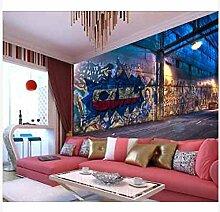 3D Wallpaper Fresco Silk Cloth Collage Bgraffiti
