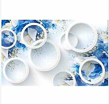 3D Wallpaper Fresco Silk Cloth Collage Blaue