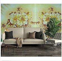 3D Wallpaper Fresco Silk Cloth Collage Blume Retro