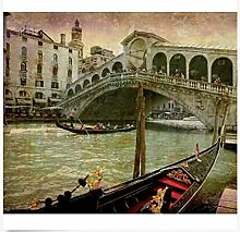 3D Wallpaper Fresco Silk Cloth Collage Brücke
