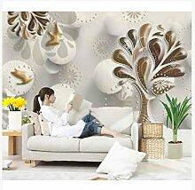 3D Wallpaper Fresco Silk Cloth Collage Carving