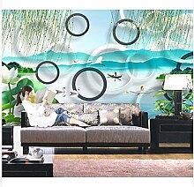 3D Wallpaper Fresco Silk Cloth Collage Kreis Grün