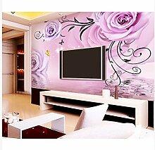 3D Wallpaper Fresco Silk Cloth Collage Lila Blumen