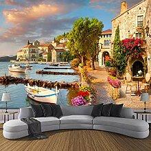 3D Wallpaper Murals Hafen Kleine Stadt Landschaft