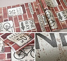 3D Wallpaper Persönlichkeit Graffiti aus rotem Backstein Tapete roten Backstein