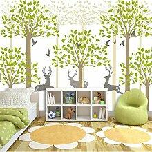 3D Wallpaper Vliesstoff Wand Wald Wald Hirsch Wald