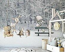 3D Wallpaper Wandaufkleber Kinderzimmer Winter