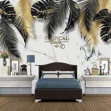 3D Wallpaper Wandbild Pflanze Blattgold Foto