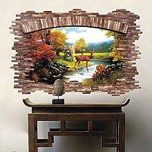 3D Wandaufkleber Holzfenster Landschaft Vinyl