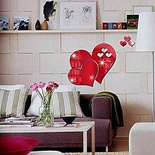 3D Wandaufkleber Spiegel Love Hearts Aufkleber Diy
