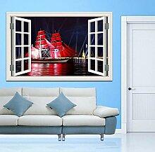 3D Wandbild Fototapete Fenster Rotes Segelboot Mit