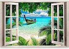3D Wandbild Fototapete Fenster Strandlandschaft