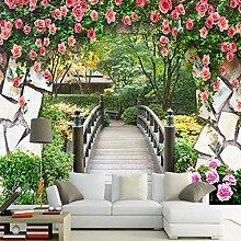 3D-Wandbild mit Gartenblumen und Holzbrücke,