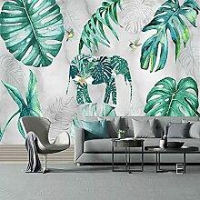 3D Wandbild Nordic Retro Pflanze Elefant Marmor