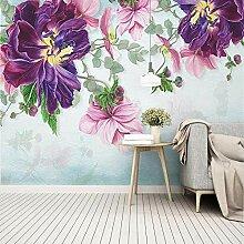 3D Wandbild Tapete 3D Wallpaper Rosa Pflanze Blatt