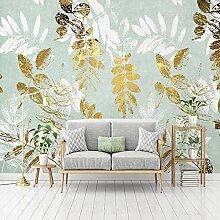 3D Wandbild Tapete Abstrakte Goldene Blätter