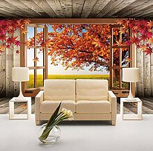 3D Wandbild Tapete Ahorn Baum Landschaft
