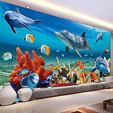 3D Wandbild Tapete Für Kinder Unterwasser Delphin
