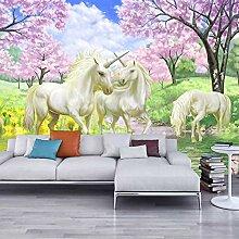 3D Wandbild Tapete Unicorn Dream Kirschblüte Tv