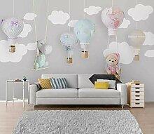 3D Wandbilder Cartoon Heißluftballon Fototapete