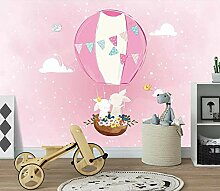 3D Wandbilder Cartoon Heißluftballon Hase