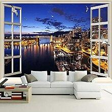 3D Wandbilder Tapete Fenster Stadt Nachtansicht 3D