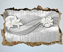 3D-Wandsticker abstrakte Lilien grau silber Aufkleber Mauerdurchbruch M0524 | Design 01 | mittel