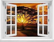 3D-Wandsticker Afrika Sonnenuntergang Aufkleber Mauerdurchbruch M0001 | Design 03 | extra groß