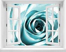 3D-Wandsticker Blaue Rose Blüte Aufkleber Mauerdurchbruch M0227 | Design 03 | extra groß