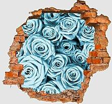 3D-Wandsticker Blaues Rosenfeld Blüte Aufkleber Mauerdurchbruch M0228 | Design 02 | mittel