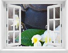 3D-Wandsticker Blumen und Tee Aufkleber Mauerdurchbruch M0829 | Design 03 | mittel