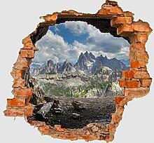 3D-Wandsticker Dolomiten Alpen Aufkleber Mauerdurchbruch M0247 | Design 02 | mittel